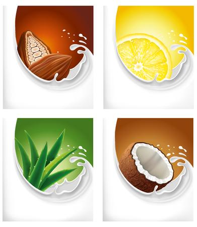 chilled: milk splash with cacao, lemon slice, aloe vera, coconut