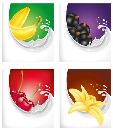 vainilla flor: chapoteo de la leche con plátano, grosella negro, cereza, flor de vainilla