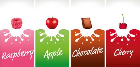 milk splash with raspberry, chocolate, apple, cherry Vettoriali