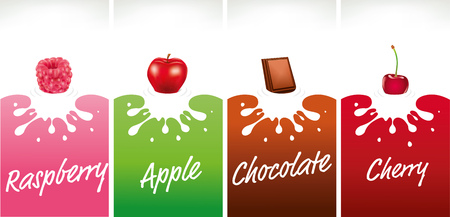milk splash with raspberry, chocolate, apple, cherry Illustration