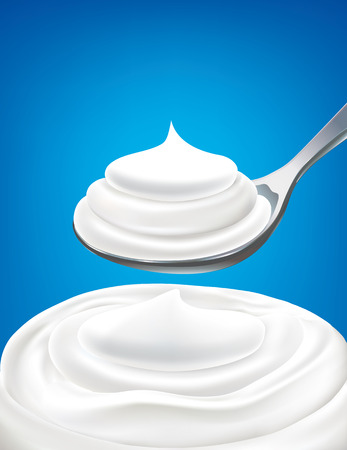 milk yogurt cream on spoon