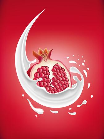 half: milk splash with pomegranate