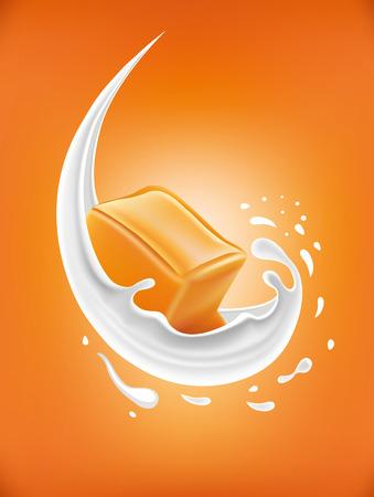 milk splash with caramel candy