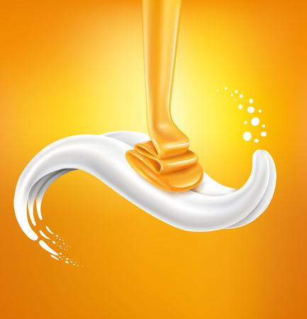 milk splash with honey lying on milk tongue Illustration