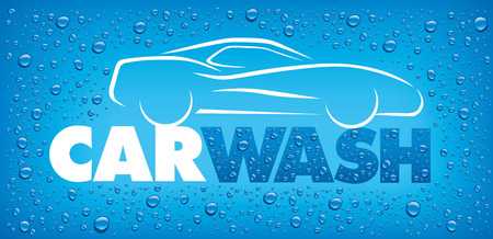 car wash design with many water drops Illustration
