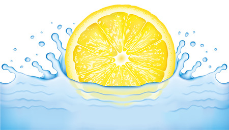 Bright lemon slice falling into water. Refreshing and healthy