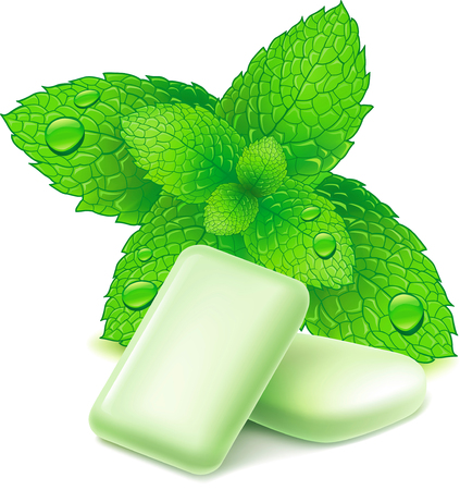 mint leaves: Chewing gum and fresh mint leaves, isolated on white