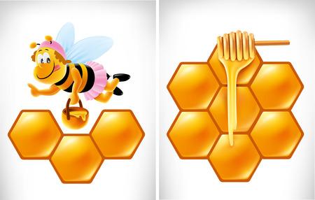 dipper: ector cartoon Honey dipper with bee Illustration