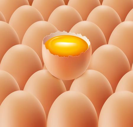 broken egg with yolk on background eggs
