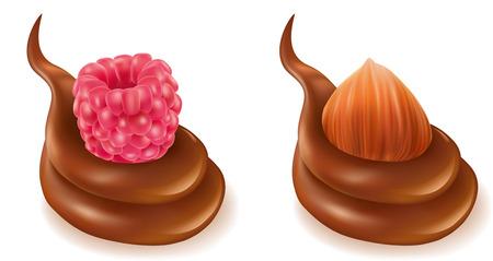 dipping: Fresh raspberry, hazelnut in chocolate sauce isolated on white Illustration