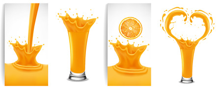 orange juice and splash creating heart