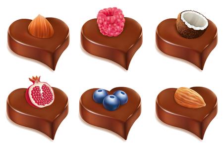 chocolate heart candy with hazelnut, coconut, blueberry, raspberry, pomegranate