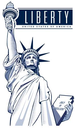 Freiheitsstatue, USA, NYC Symbol Vektorgrafik