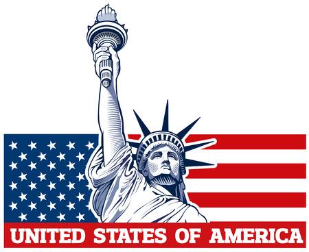 자유의 여신상, 미국, 뉴욕의 상징 일러스트