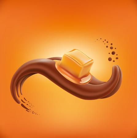 チョコレート舌の上に横たわる甘いキャラメルのお菓子