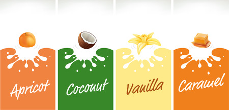 milk splash with apricot, coconut, caramel, vanilla Vettoriali