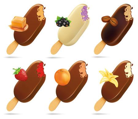 glazed: ice cream lollipop popsicle chocolate glaze with caramel, black currant, coffee, strawberry, apricot, vanilla