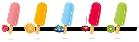 favor: ice cream lollipop popsicle with raspberry, blueberry, cherry, kiwi, orange
