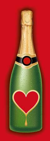 champagne bottle with red heart label, valentine package