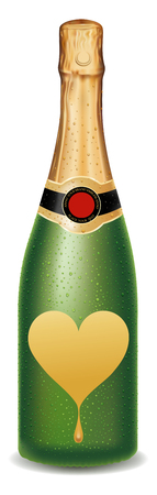 champagne bottle with golden heart label, valentine package