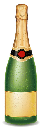 champagne bottle with many drops, blank label Illustration