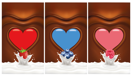hot couple: hocolate heart background with strawberry, blueberry, raspberry falling to milk