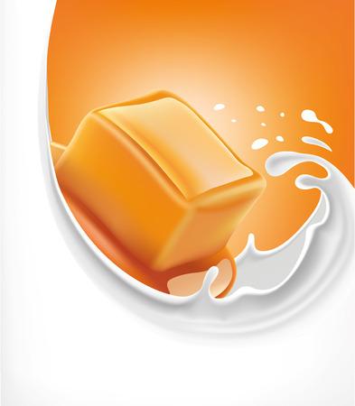 caramel candy in milk splash