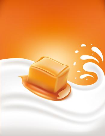temptation: caramel candy in milk splash