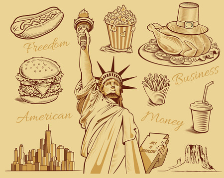 monument valley: typical american food, statue of liberty, manhattan skyline monument valley Illustration