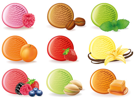 Ice cream flavor with strawberry, raspberry, apricot, vanilla, mint and caramel. Illustration