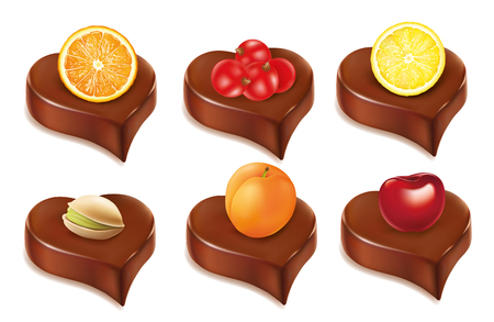 dipping: chocolate heart candy with orange, lemon, pistachio, cherry, apricot Illustration