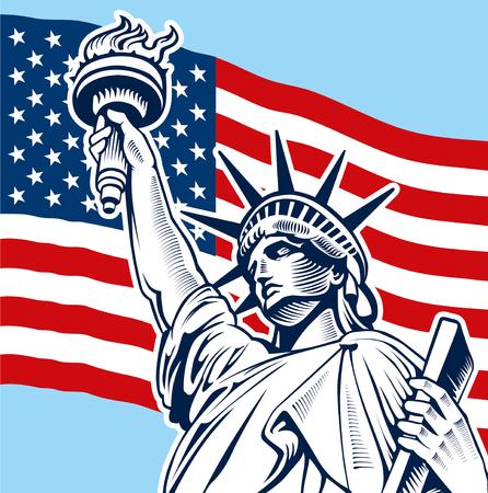 Statue of Liberty, USA-Flagge, NYC, vierten Juli-Unabhängigkeitstag Standard-Bild - 74292164