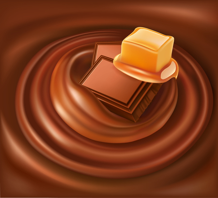 chocolate background swirl with chocolate and caramel Illustration