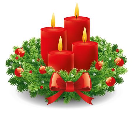 Corona di avvento con candele accese per il periodo natalizio Vettoriali