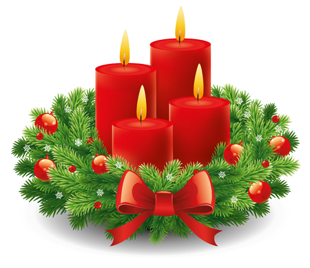 Advent wreath with burning candles for the Christmas time