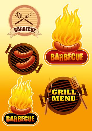 Zeichen von Grill und Grill Illustration