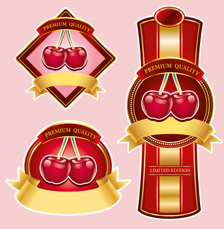 luxury cherry labels with golden ribbons Illustration