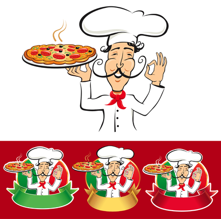Typical Italian pizza chef with flag.