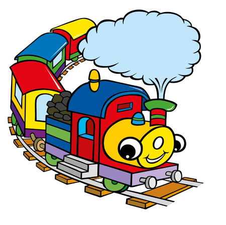 Funny happy train cartoon for kids