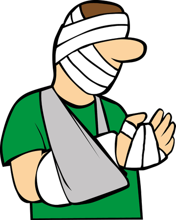 Man with trauma on head and bandaging hand Illustration