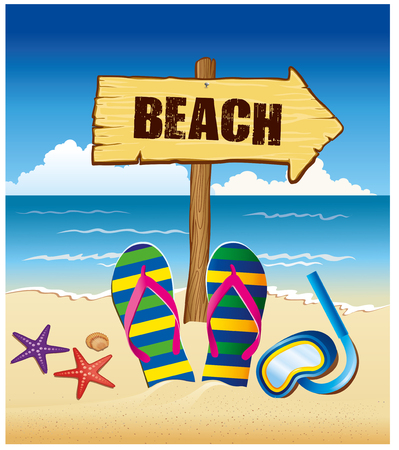 Summer holiday background with beach sign, flip and starfish Illustration