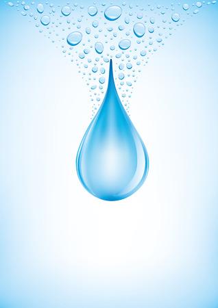 떨어지는 물이 파란색 배경에 상품