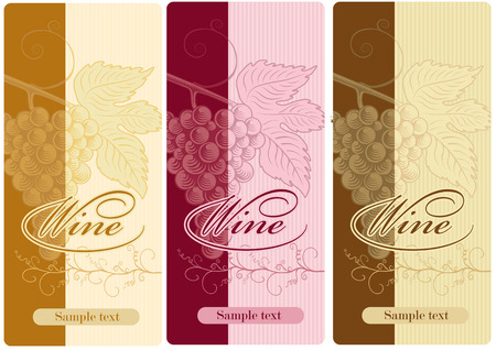 wine grapes: set of labels for wine with grapes