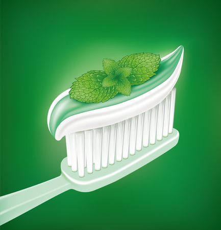 white tooth and whitening toothpaste with mint Illustration