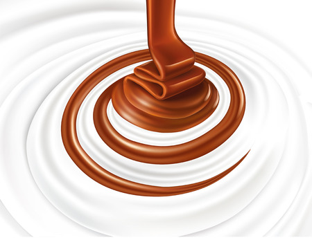 Milk swirl with chocolate candy Vetores