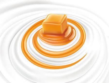 Milk swirl with caramel candy