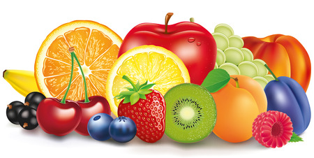 Group of fresh fruit - apple, lemon, apricot, berries Illustration