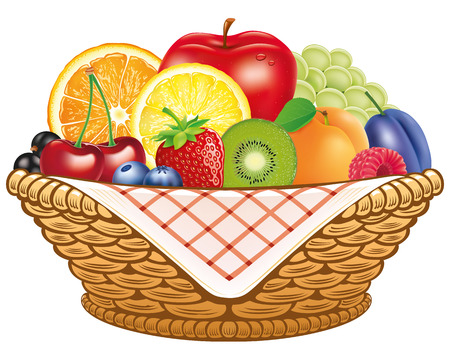 Group of fresh fruit in basket - apple, lemon, apricot, berries Illustration