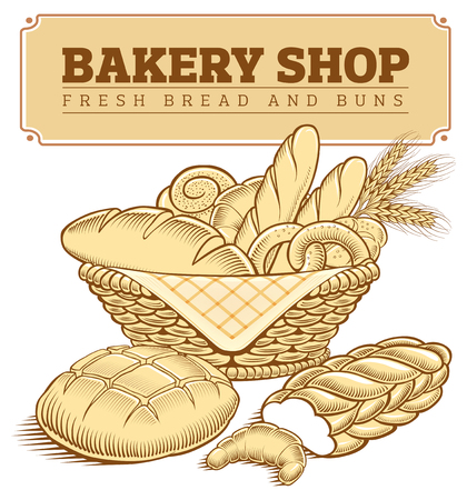 Bäckerei Lebensmittel Brot, Baguette, Weizen im Korb Standard-Bild - 78149646