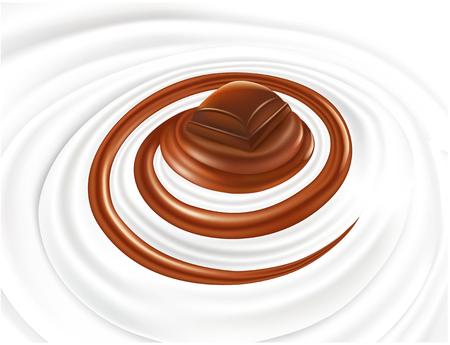 Milk cream swirl with chocolate candy Illustration